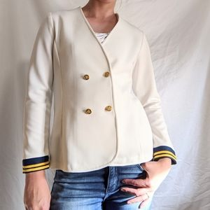 Vintage 70s cream double-breasted sailor blazer